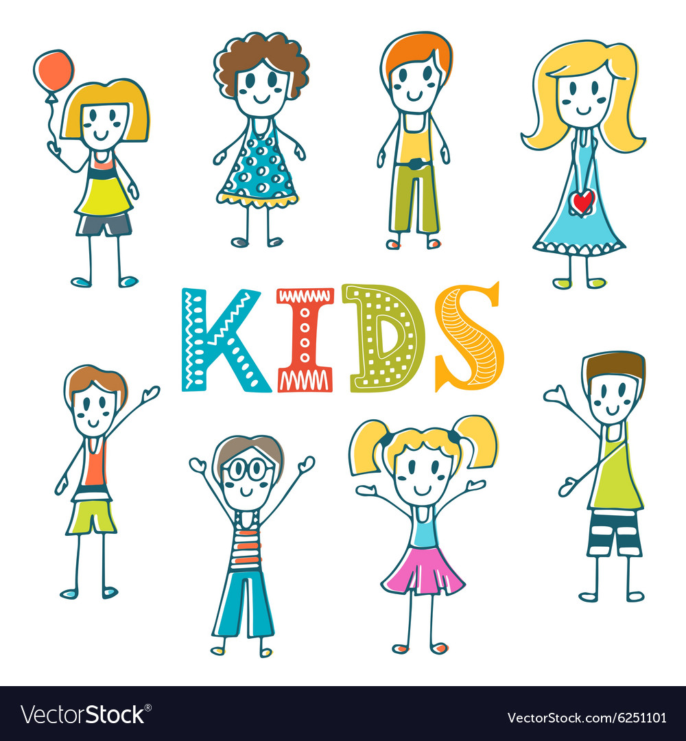 Hand drawn cute little kids Collection of cartoon vector image