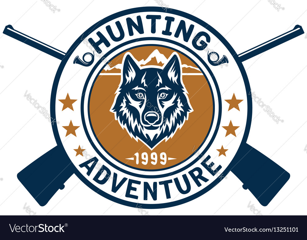 Hunting sport or hunter club wolf icon vector image