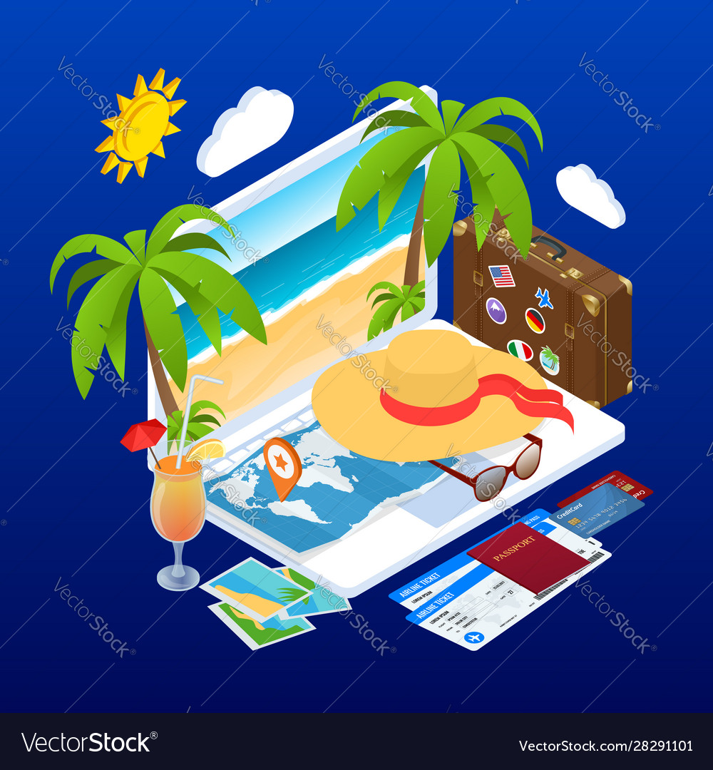 Isometric summer vacation concept online ticket
