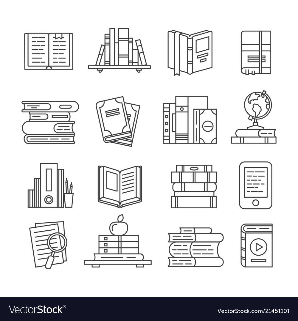Line art book icons literary magazines study