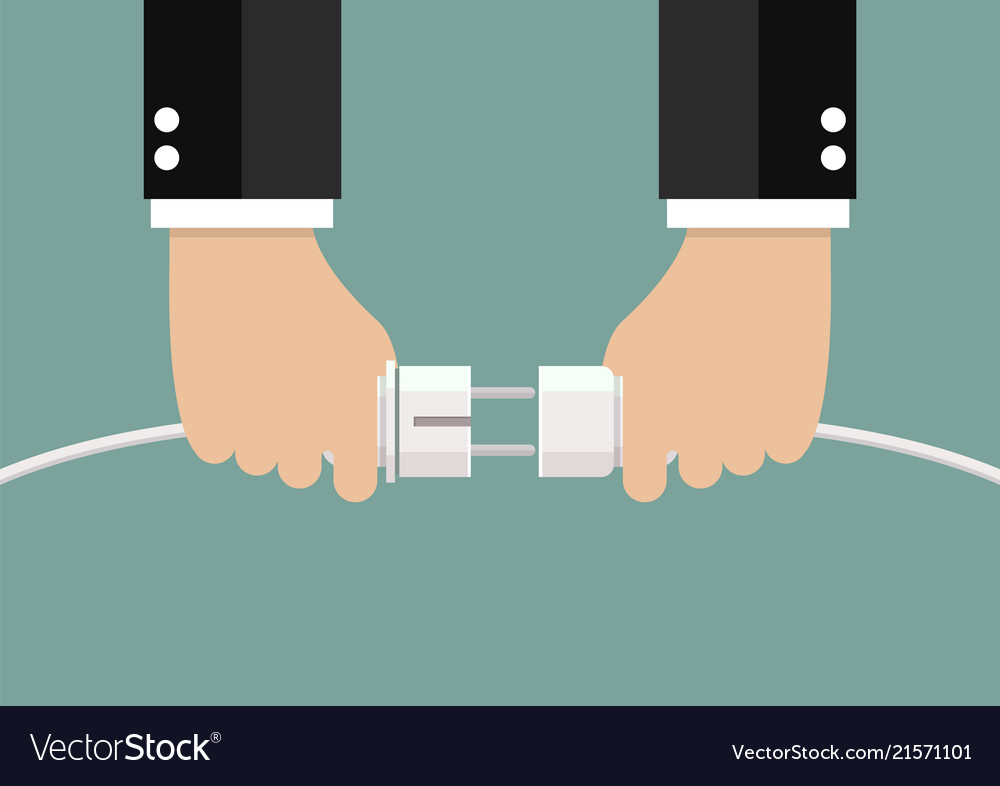 Man holding in hand plug and socket to connect