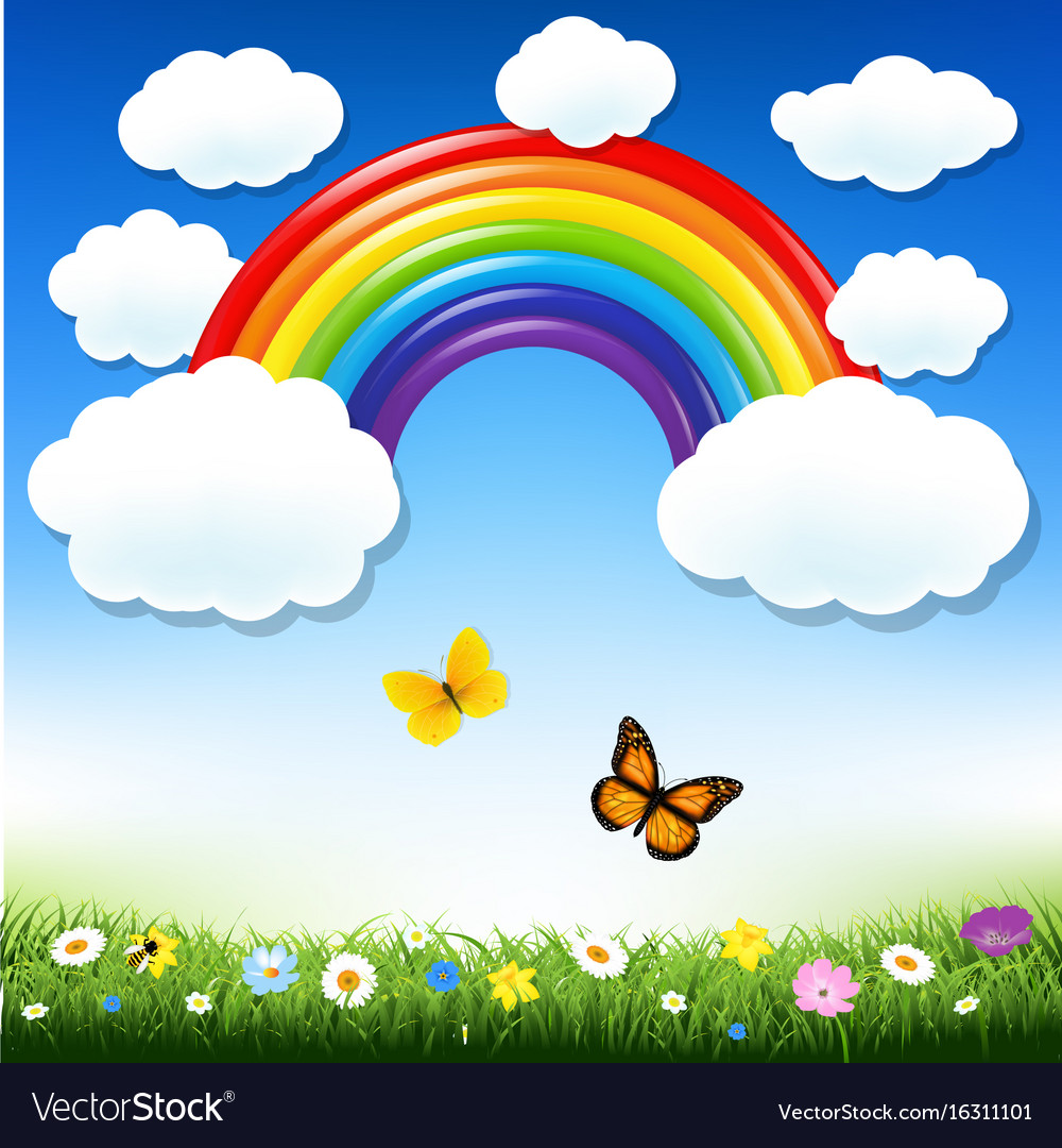 Rainbow and grass vector image