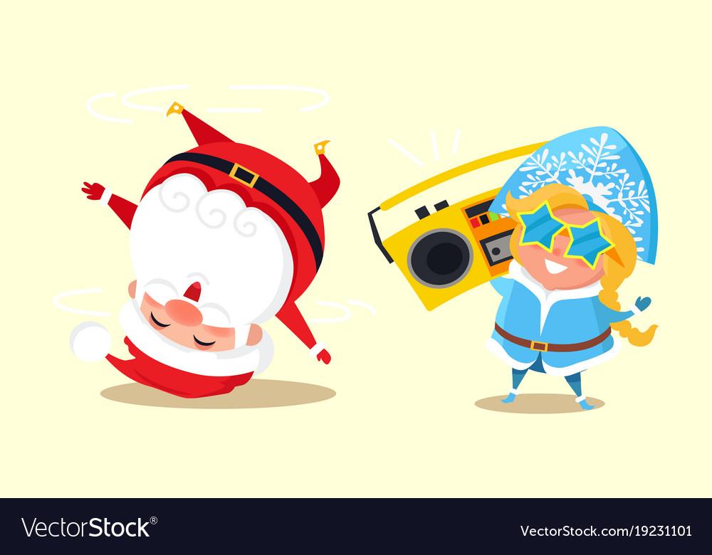Santa standing on head break dancing snow maiden