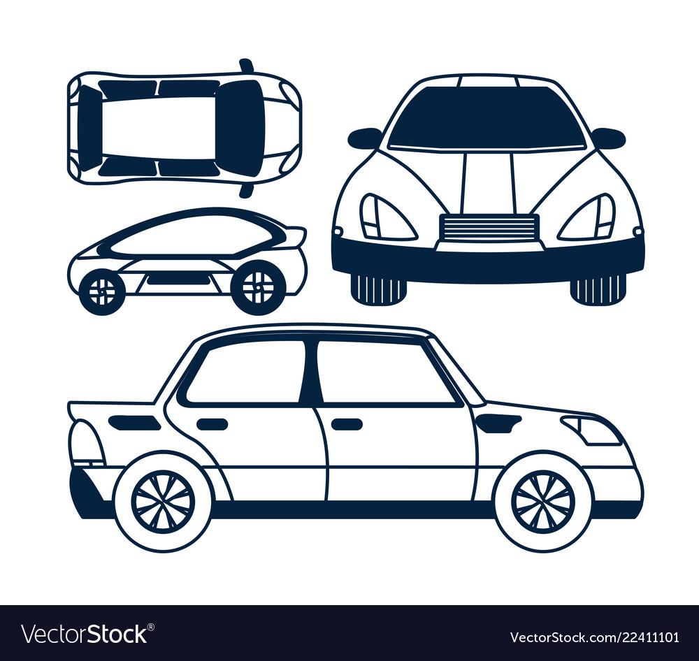 Set of car views icons