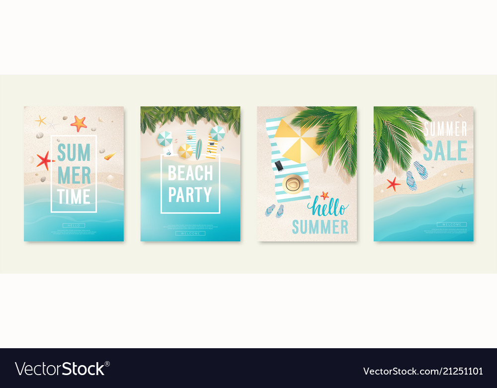 Tropical beach cards with sand sea and palm