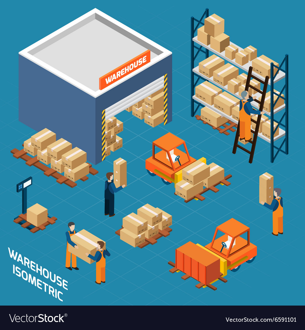 Warehouse Isometric Icons Concept vector image