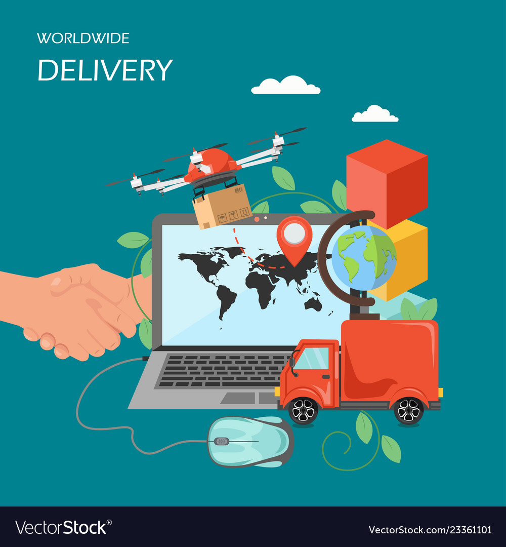 Worldwide delivery flat style design
