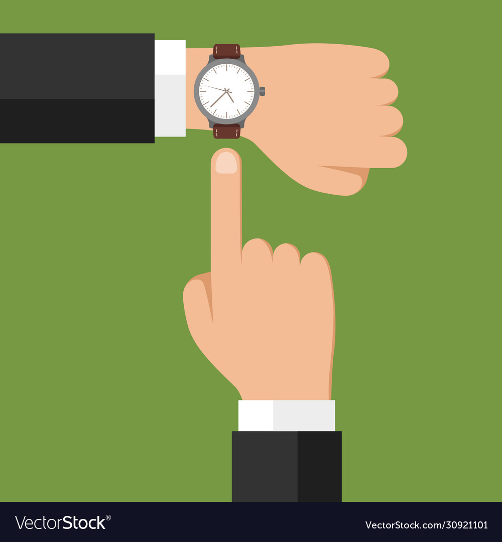 Wristwatch on hand businessman showing time on