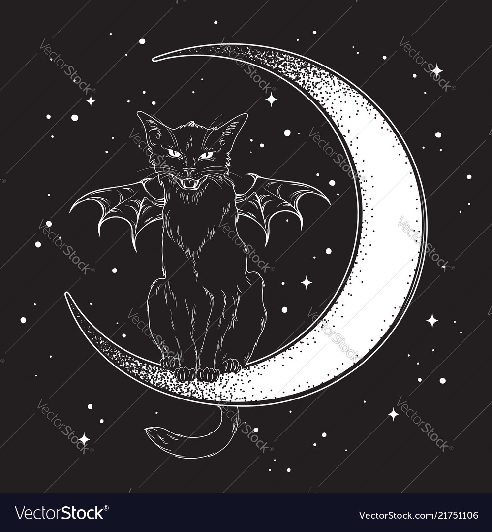 Black cat with bat wings sitting on crescent