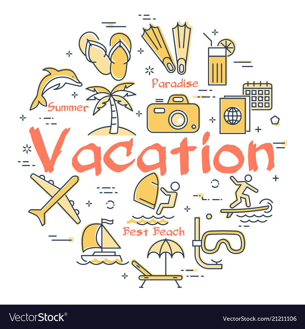 Bright icons for vacation concept