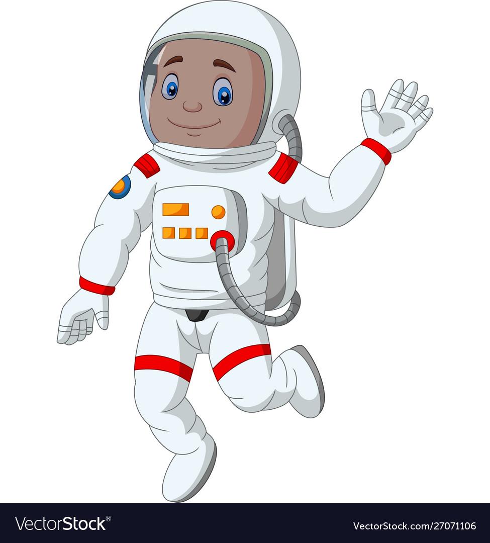 Cartoon boy astronaut waving hand