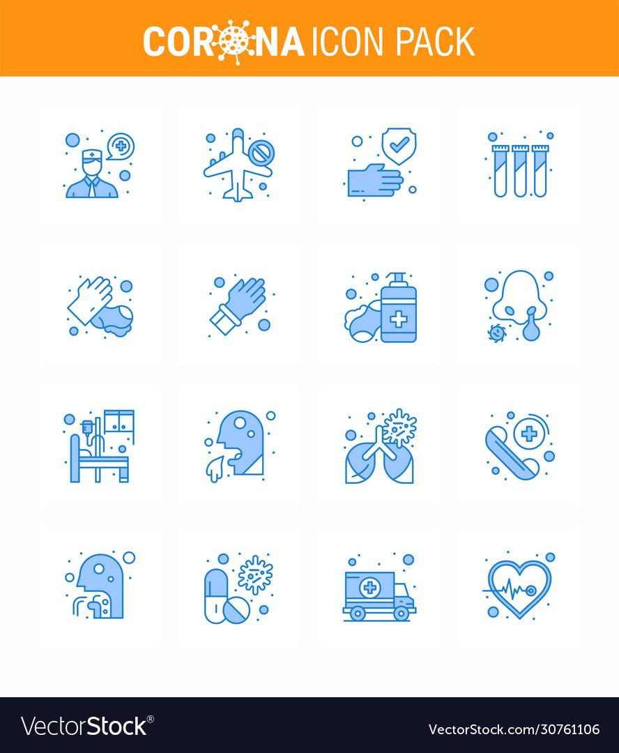 Coronavirus prevention 25 icon set blue hands