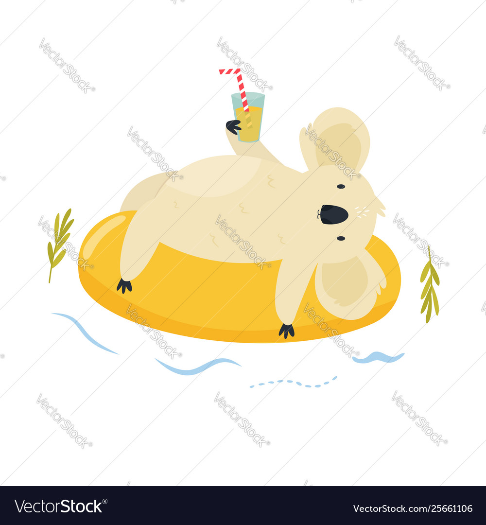 Cute koala character swimming on inflatable ring