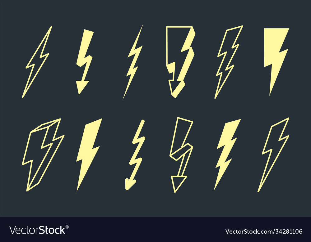 Electric lightning set powerful yellow flashes in