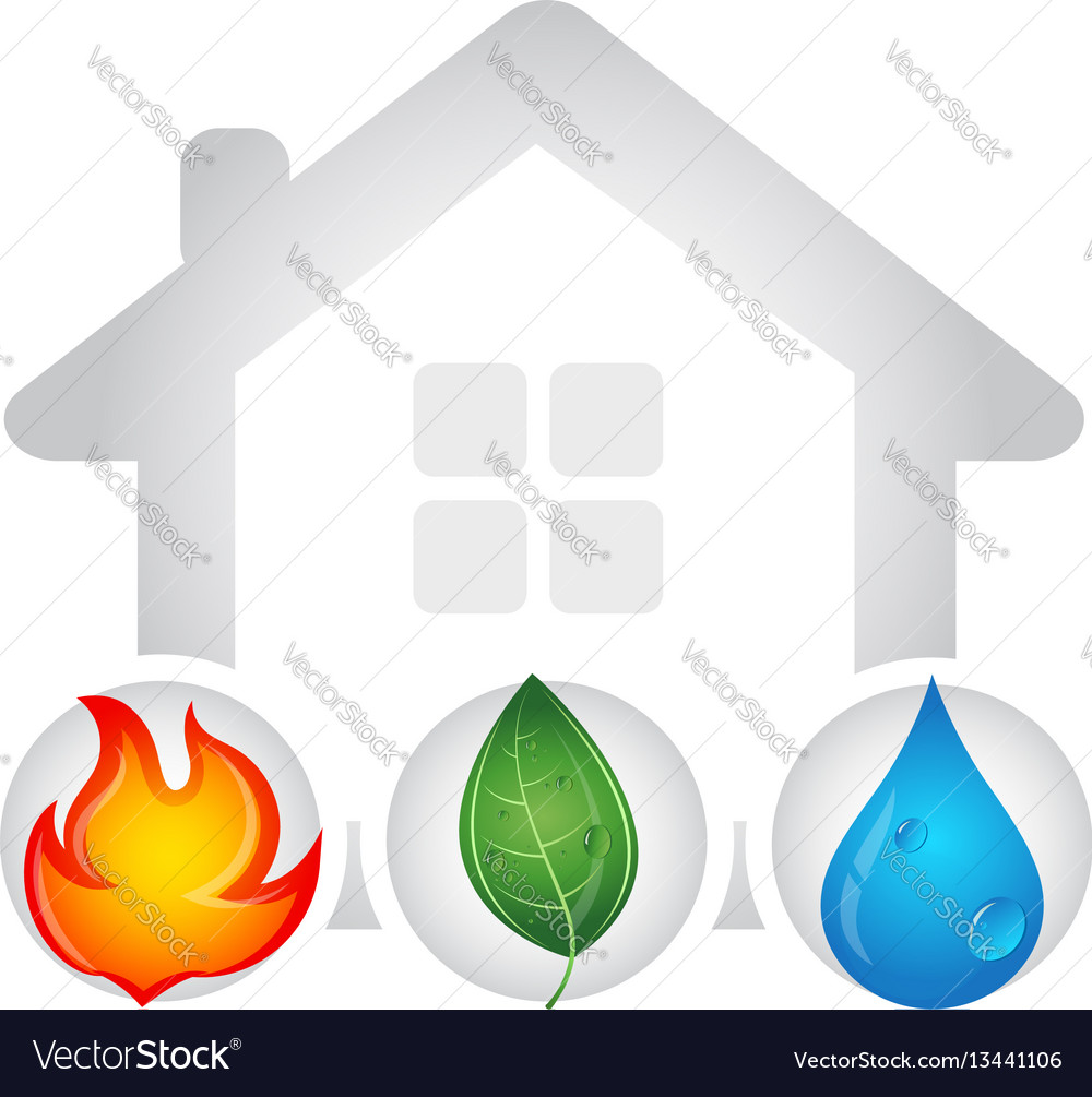Fire water drop and green leaf design