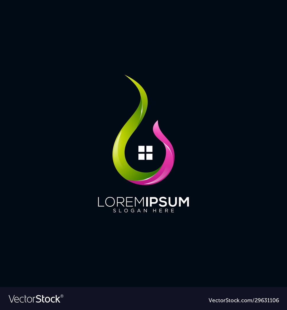 Flame house logo design