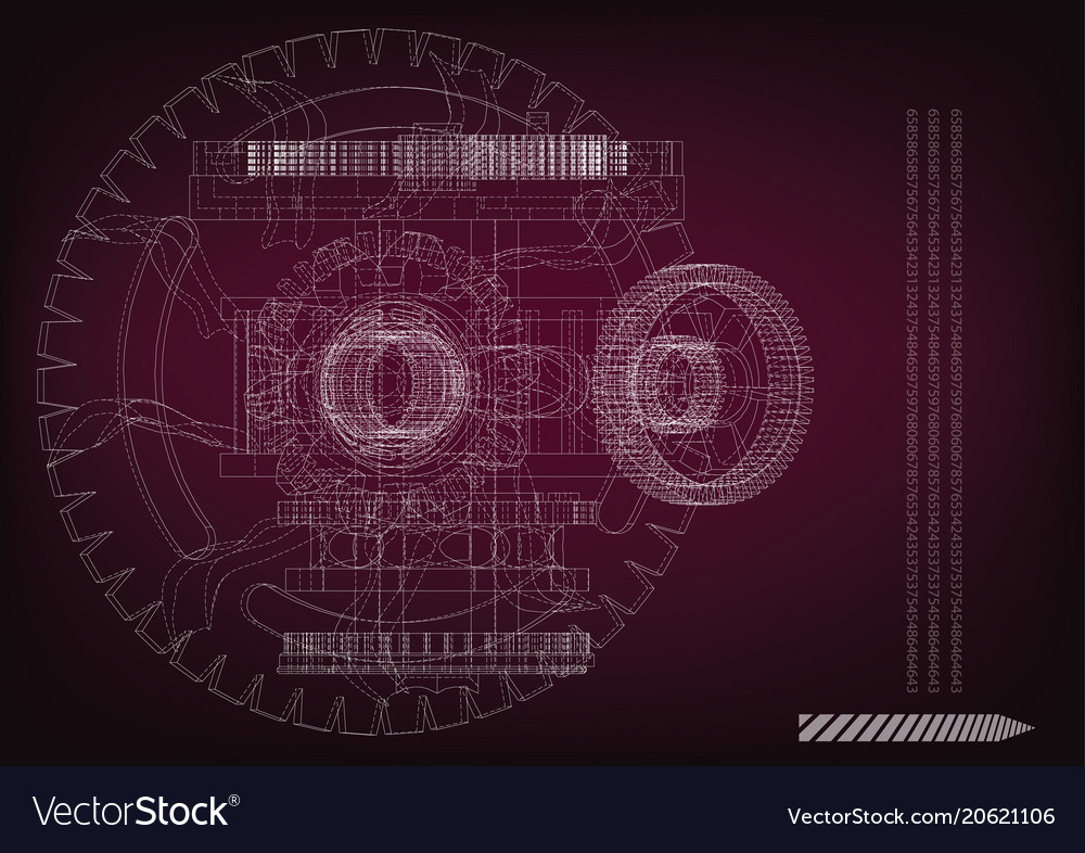 Gear mechanism on burgundy vector image