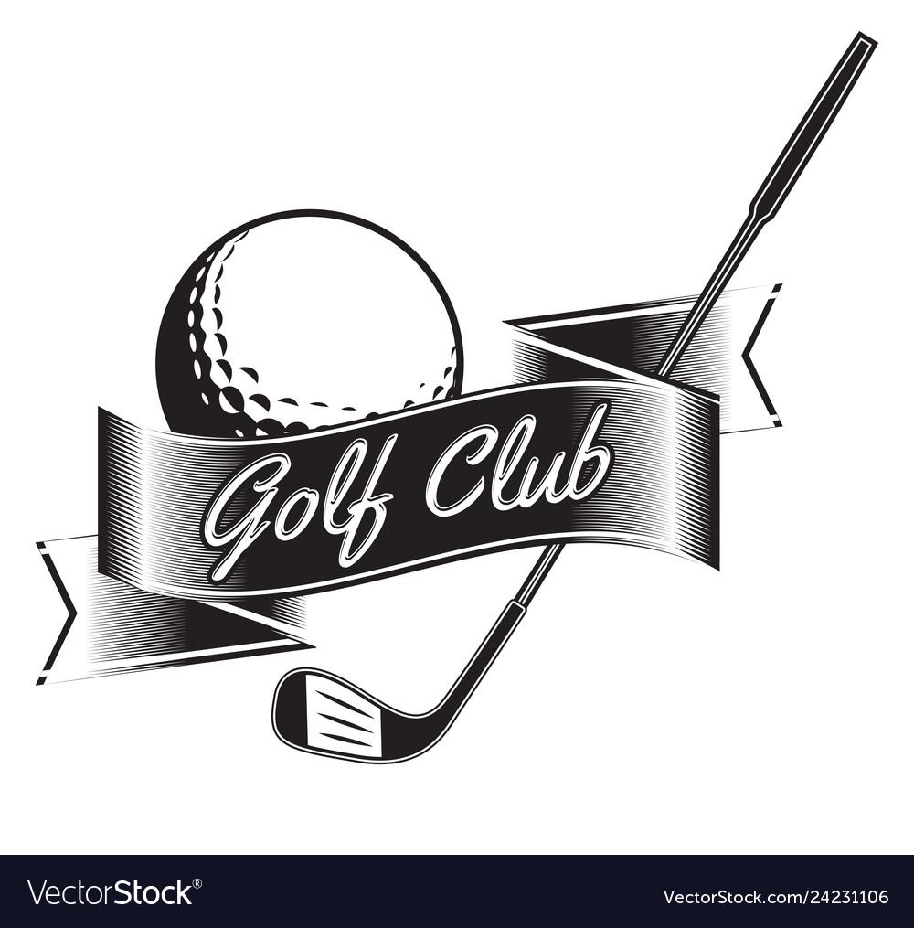 Label of golf logo of golf championship
