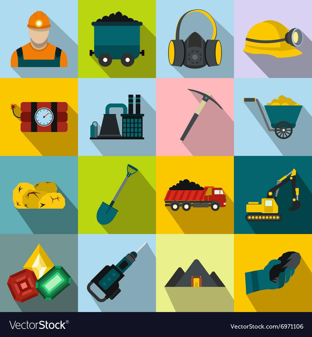 Mining icons flat set