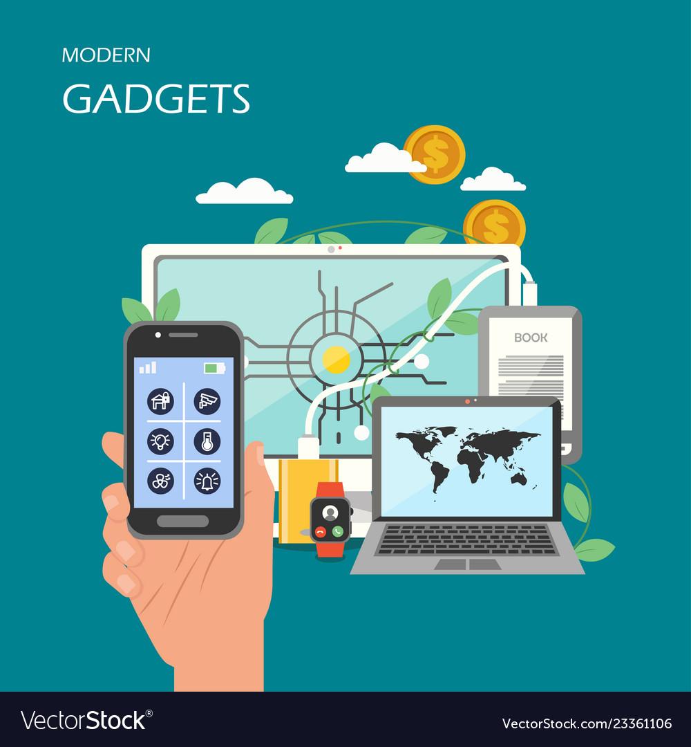 Modern gadgets flat style design