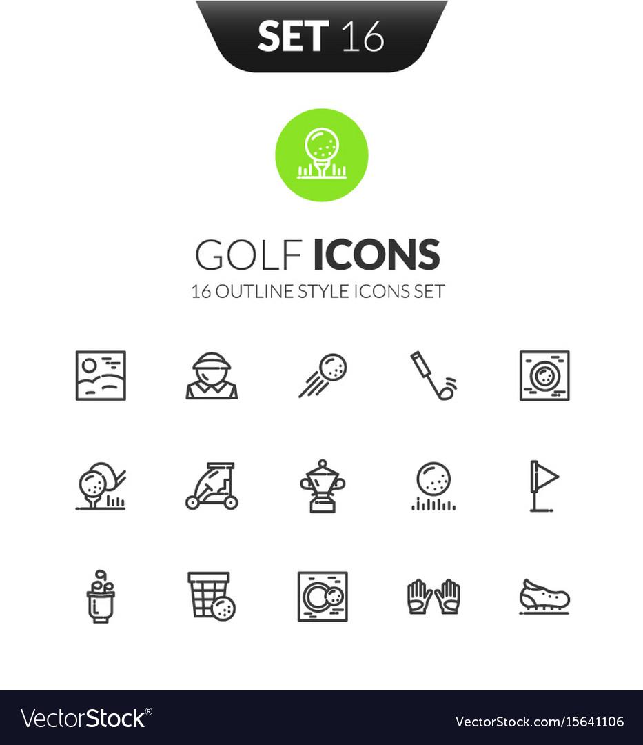 Outline black icons set in modern design style vector image