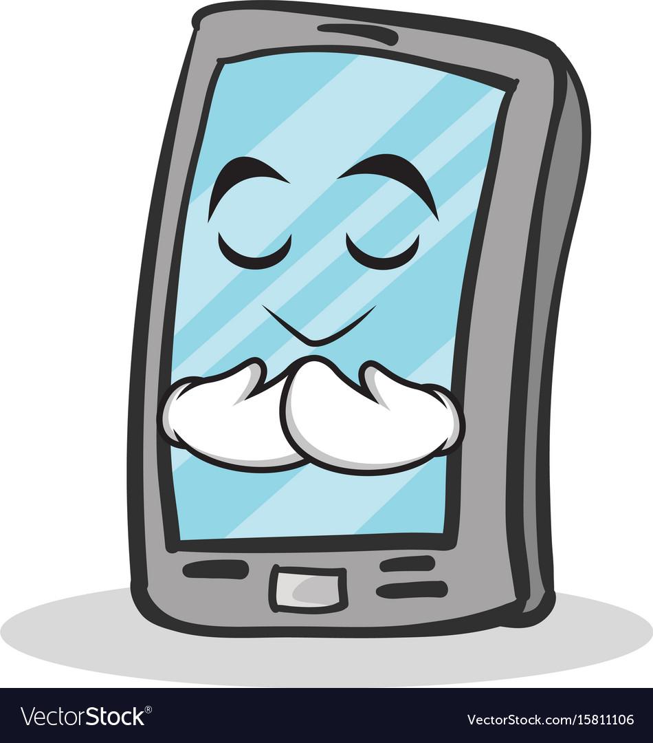 Praying face smartphone cartoon character vector image