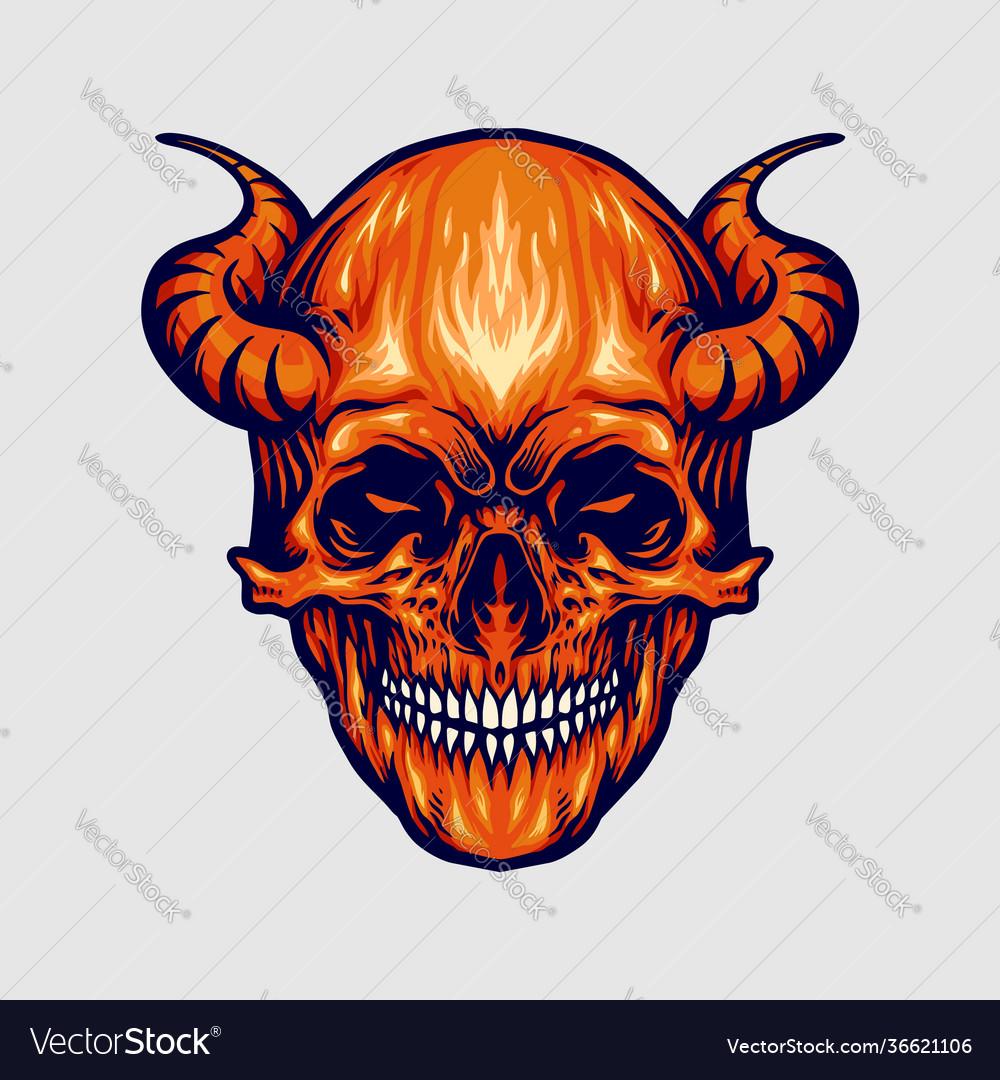 Red devil skull horn