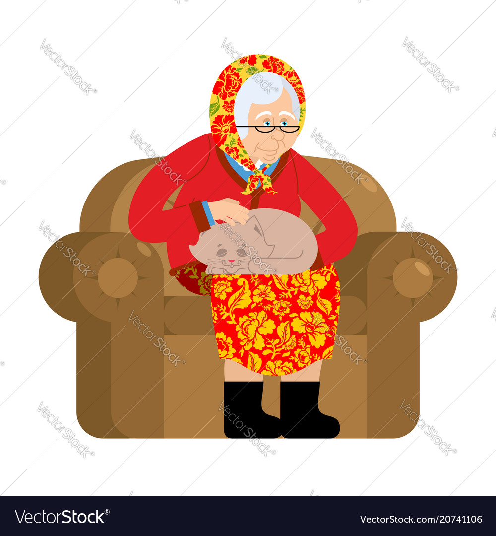 Russian grandmother and cat old woman in an
