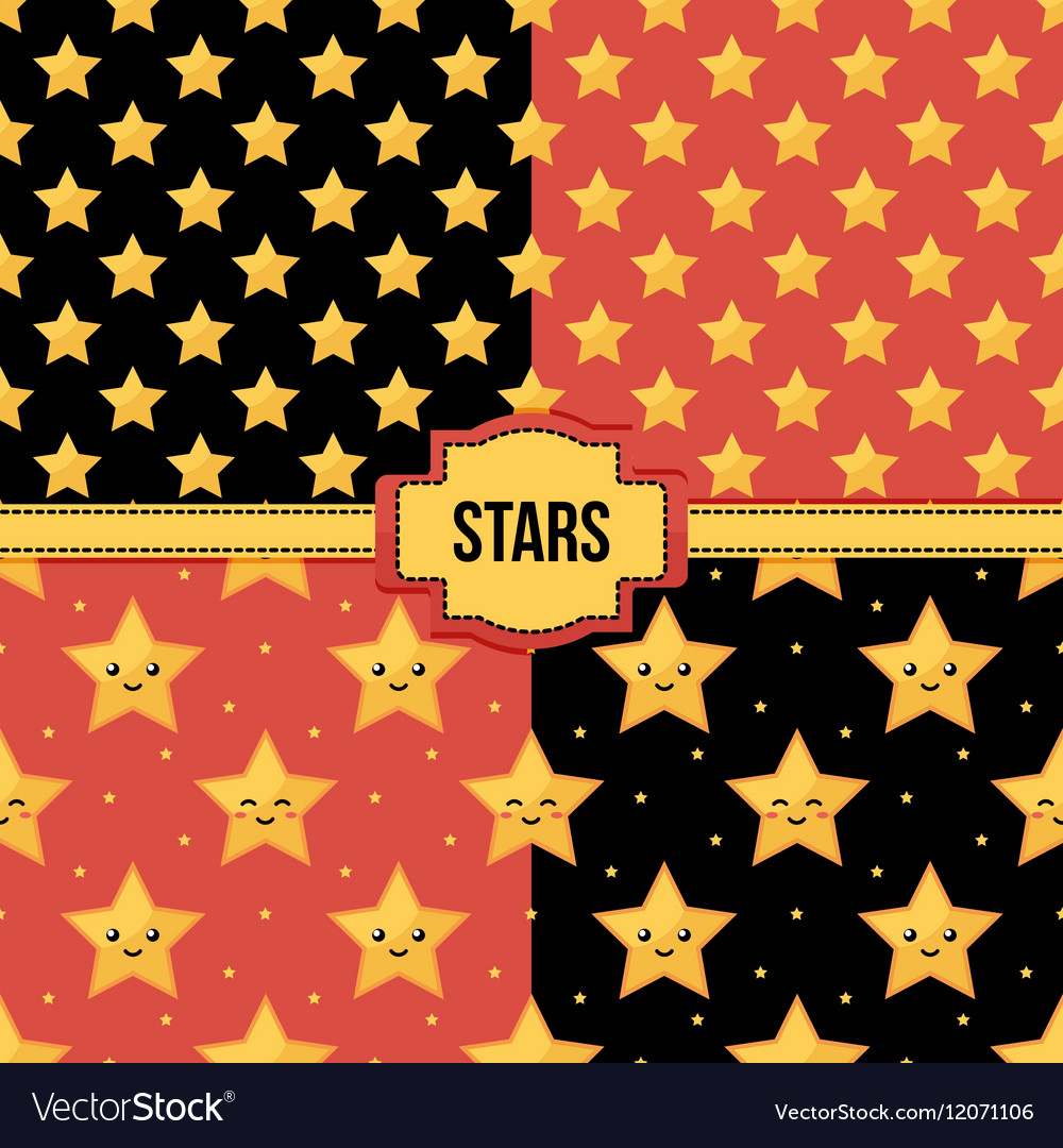 Set collection of seamless patterns with stars