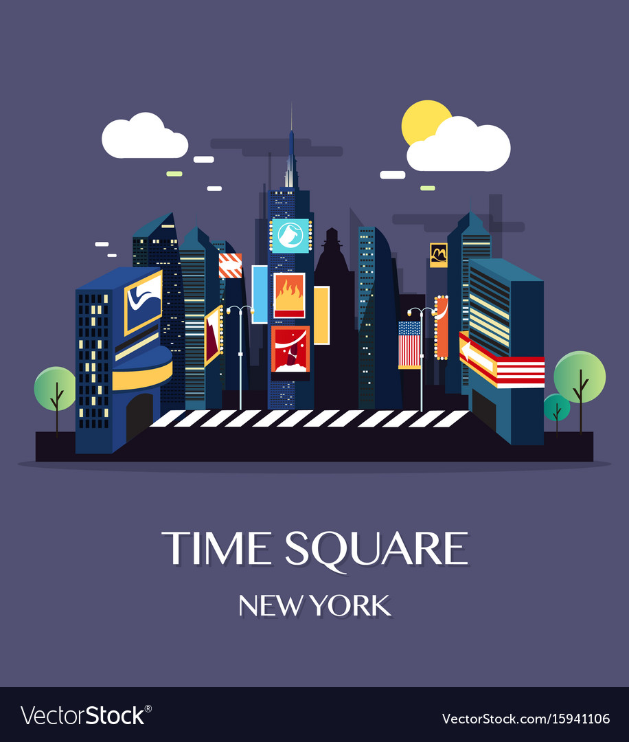 Time square new york vector image