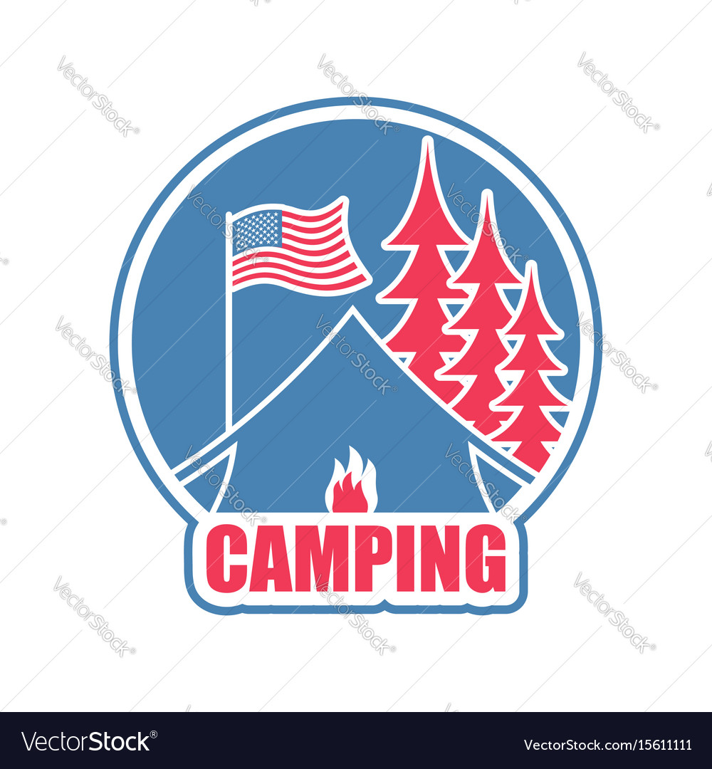 Camping logo tent camp emblem forest and tent