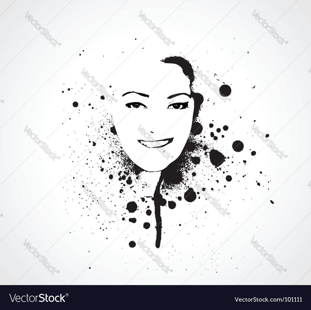 Grunge girl face vector image