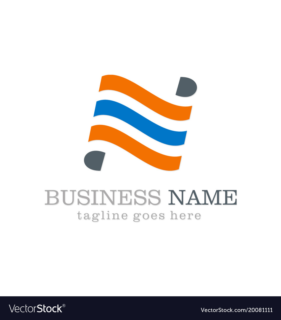 Line wave business logo design vector image
