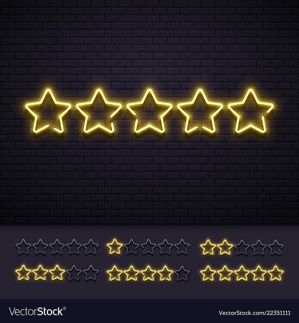 Neon five stars golden illuminated star neons