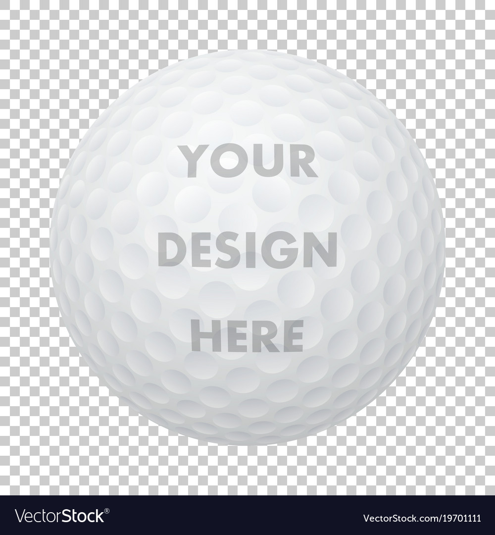 Realistic golf ball icon closeup isolated