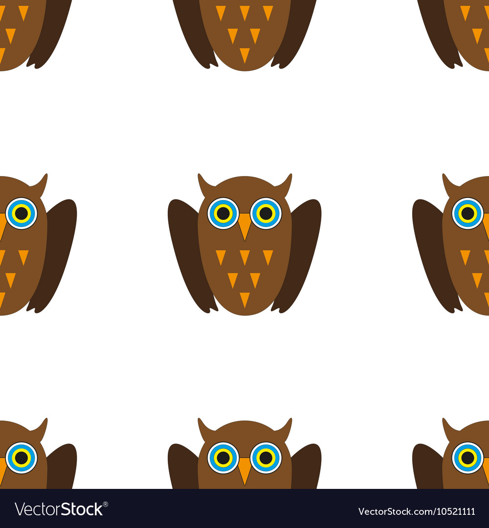 Seamless pattern with Brown owls