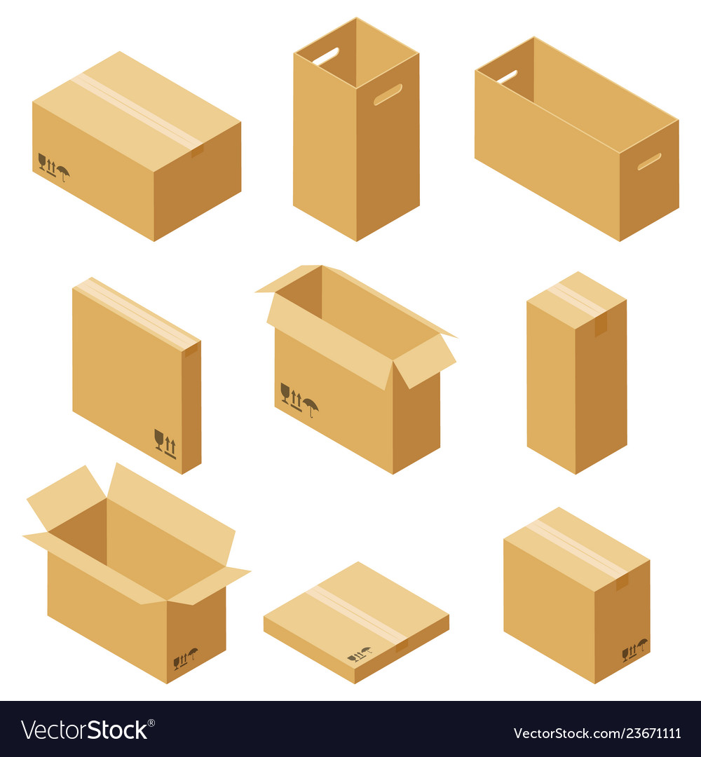 Set of cardboard boxes isolated
