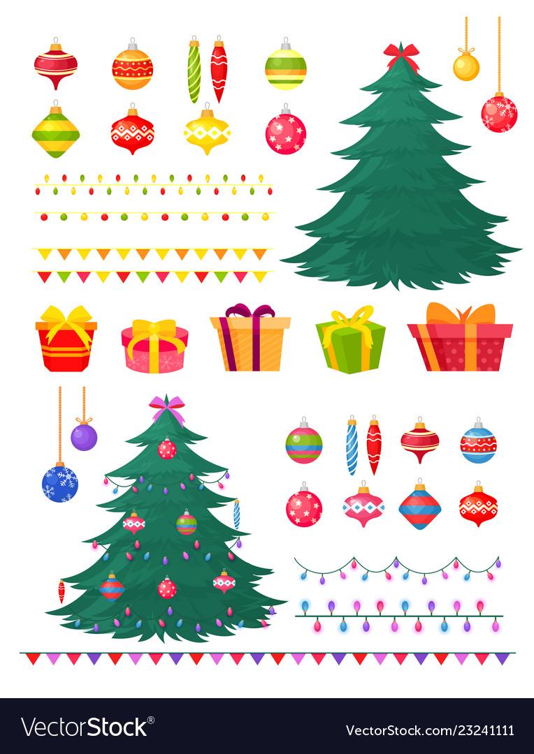 Set of christmas tree with