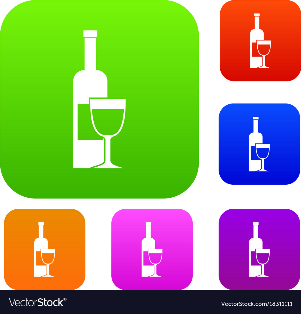 Wine bottle and glass set color collection