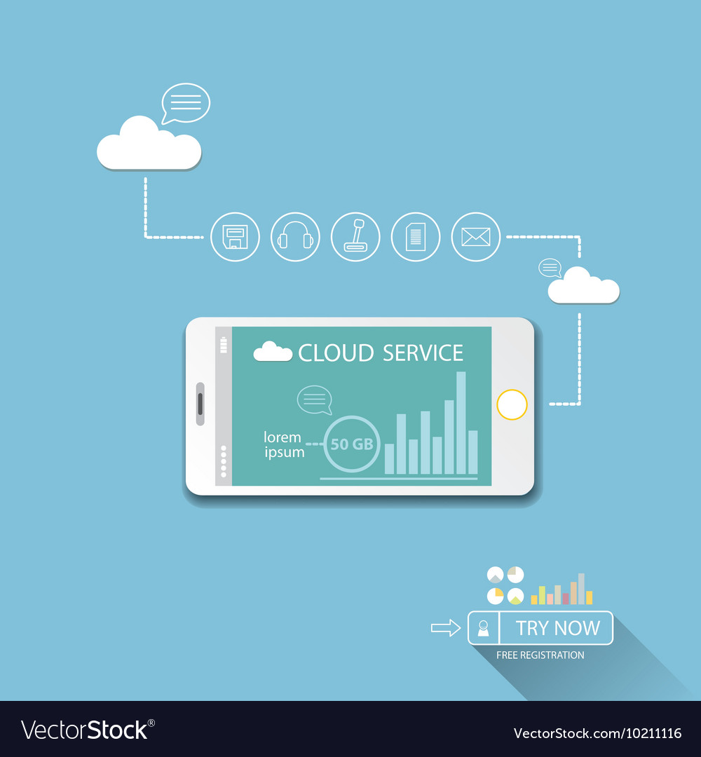 Cloud services mobile flat web infographic