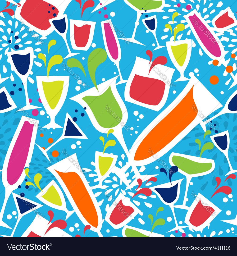 Cocktail glass drink seamless pattern