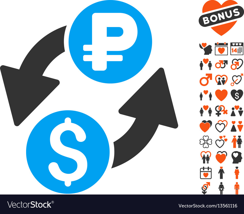 Dollar rouble exchange icon with valentine bonus vector image
