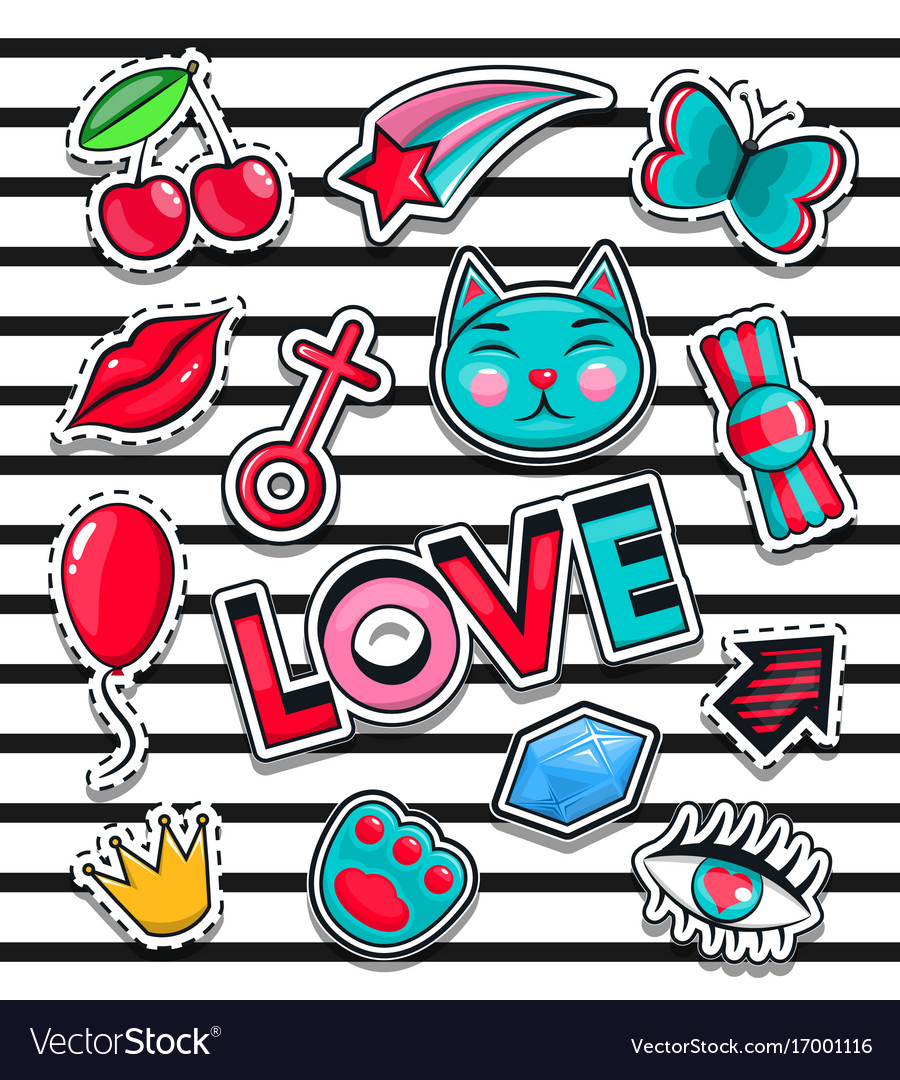 Fashion icons collection set of stickers pop art
