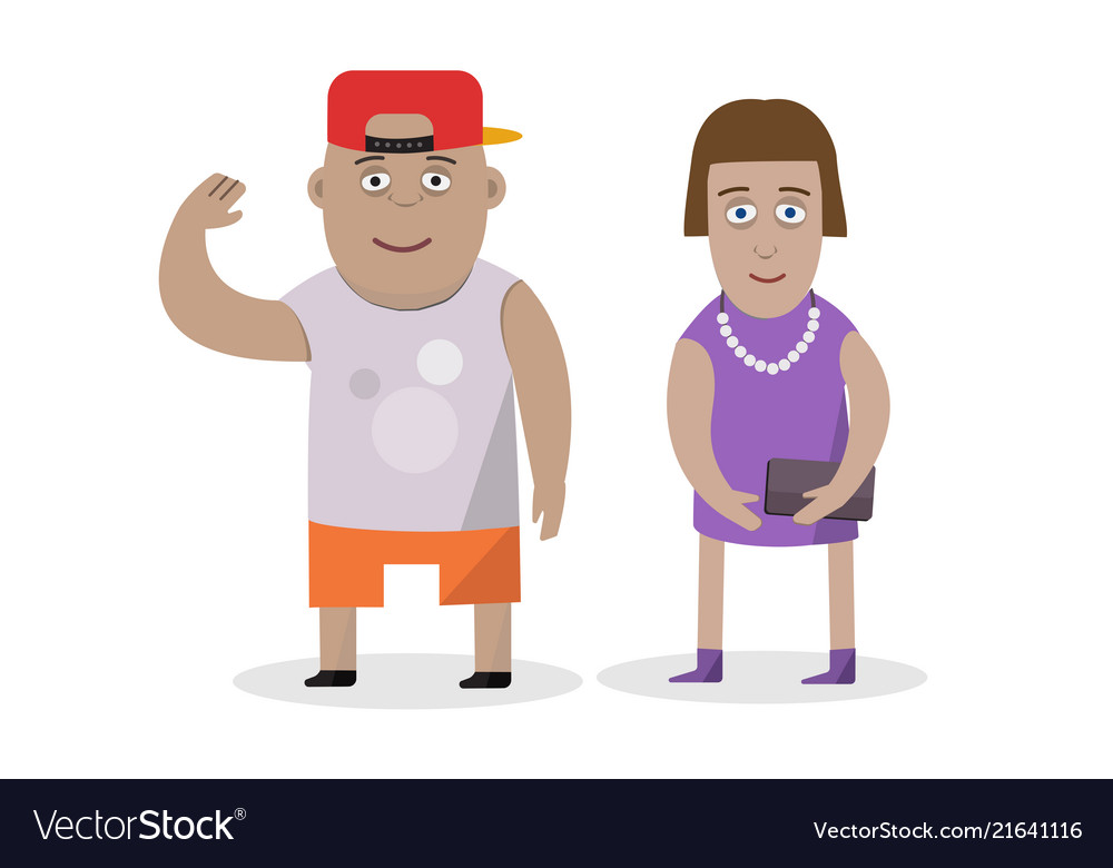 Flat character design on couple boy and