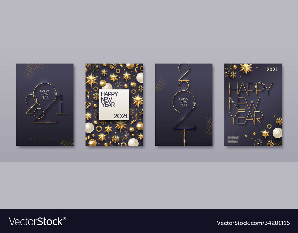 Greeting card with golden 2021 new year logo