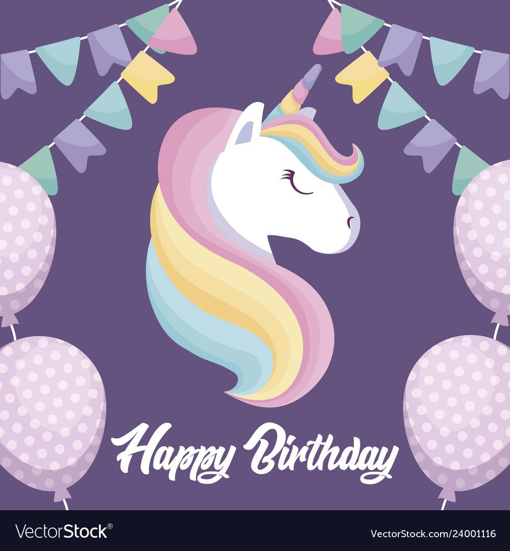 happy birthday card with cute unicorn royalty free vector