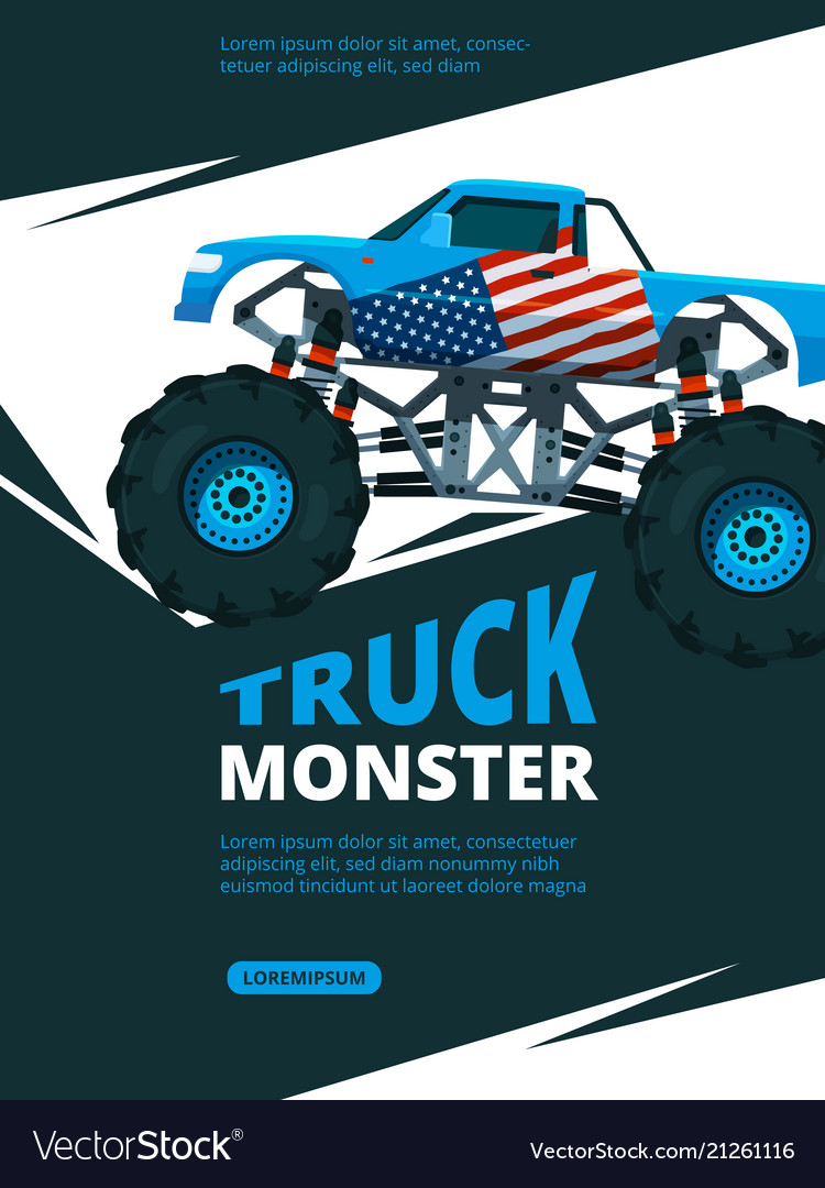 Monster truck poster design template of retro vector image.
