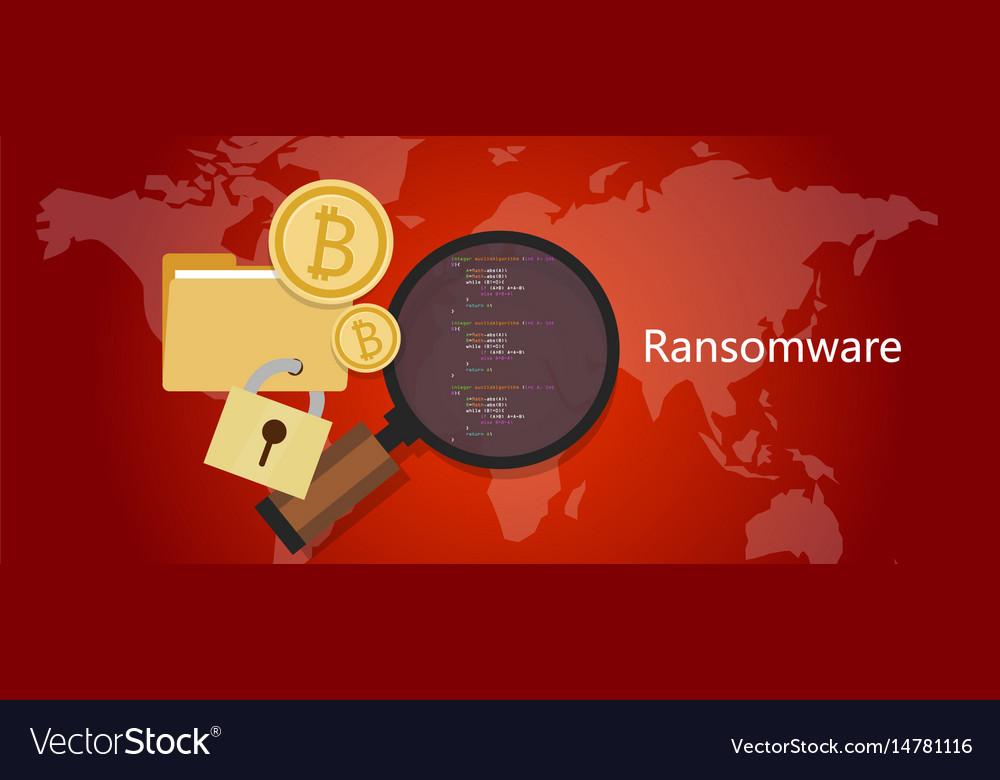 Ransomware wannacry hacker malware concept of lock vector image