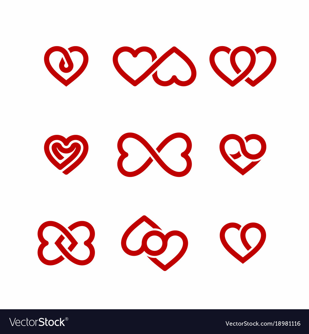 Red heart icons set valentines day design elements