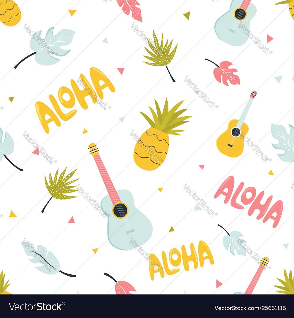 Seamless pattern with hawaiian summer elements